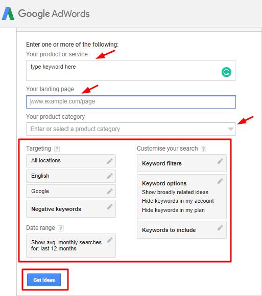Google keyword planner-filter and column