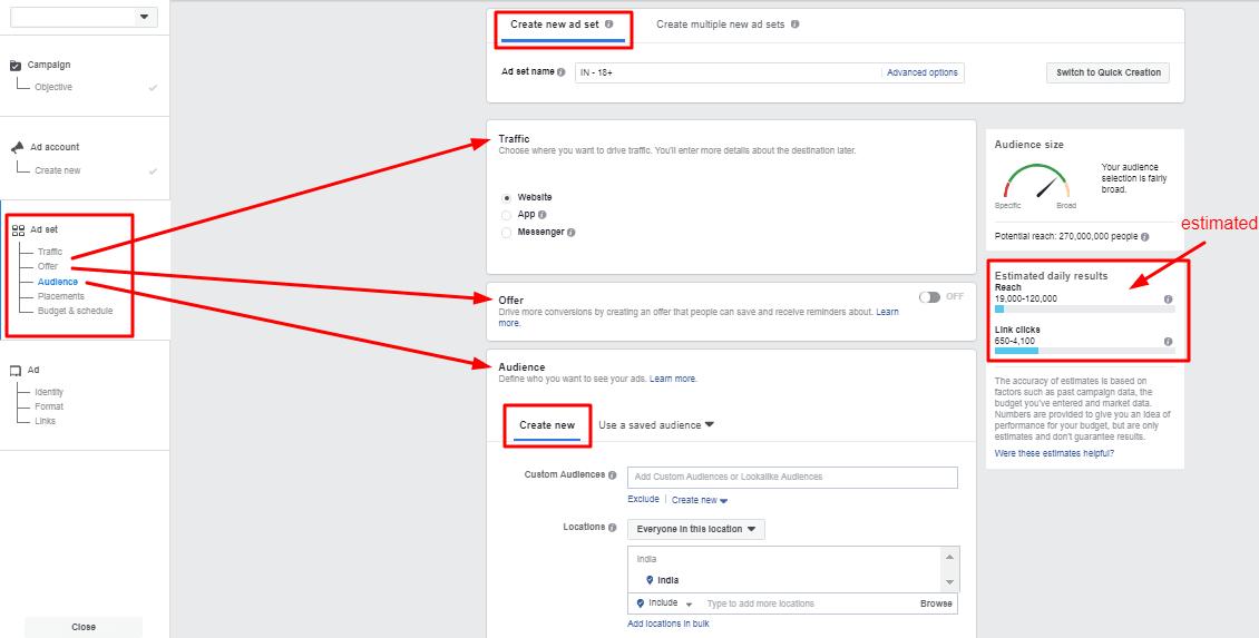 create Facebook ads