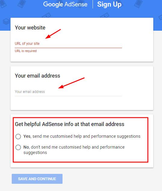 Google AdSense-sign up